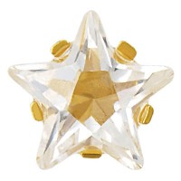 SENSITIVE™ Tiffany 5mm Circonita cúbica corte estrella, dorado